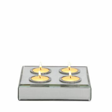Square Set/4 Silver Mirror T light Holder