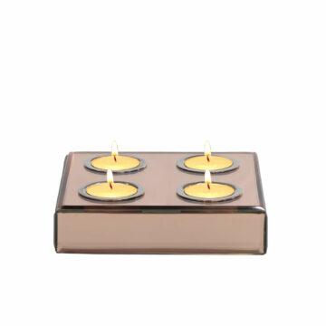 Square Set/4 Brown Mirror T light Holder